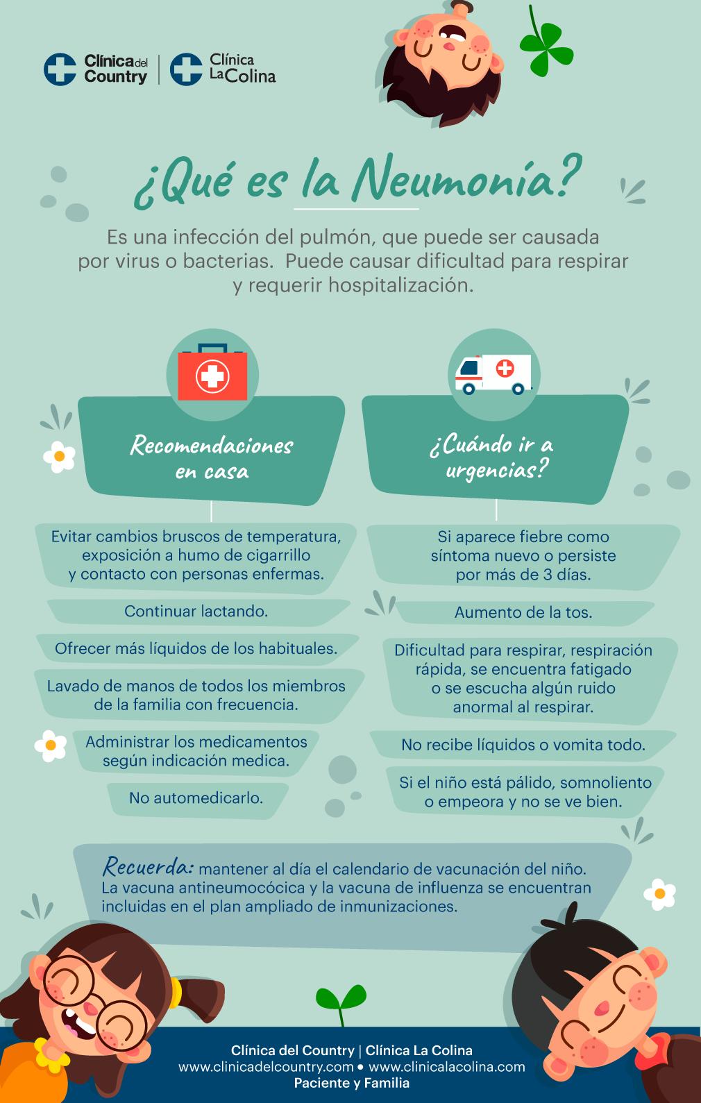 Infografia sobre la enfermedad de la neumonia